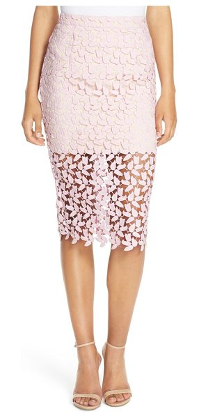 Bardot flora lace pencil skirt in dusty pink