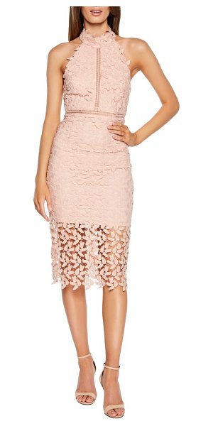 Bardot gemma halter lace sheath dress in pink - This leafy lace cocktail dress conceals and reveals with...