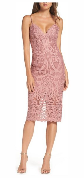 Bardot gia lace pencil dress in mauve - Wow your date in this slinky, stretch-lace midi dress...