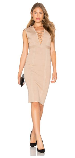 Bardot Jourdan panel dress in tan - Viscose blend. Hand wash cold. Unlined. Front lace-up...