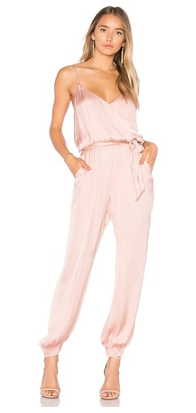 "Bardot Paloma Jumpsuit in rose - ""100% poly. Dry clean only. Adjustable shoulder straps...."