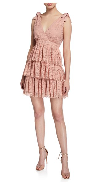 Bardot Roxie Sleeveless Tiered Lace Mini Dress in pink
