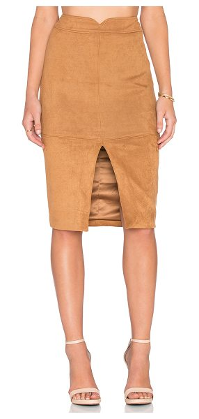 Bardot Sueded Midi Skirt in brown - Self & Lining: 95% poly 5% elastane. Hand wash cold....
