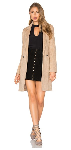 Bardot Tash Coat in tan - Wool blend. Dry clean only. Front button closure. Side...