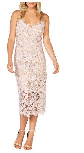Bardot tayla floral lace midi dress in pink