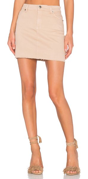 Bardot Tusk Mini Skirt in beige - 98% cotton 2% elastane. Unlined. Front slant pockets....