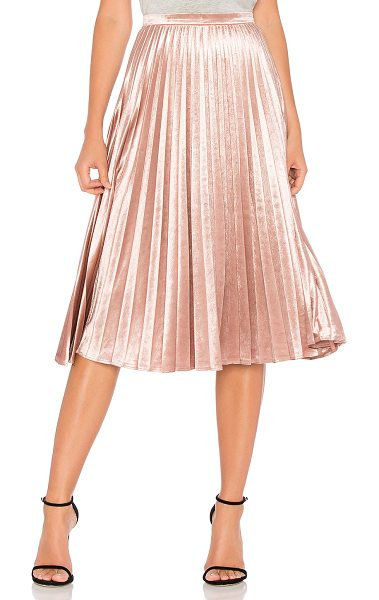 "Bardot Velour Pleat Skirt in pink - ""Poly blend. Hand wash cold. Unlined. Pleated detail...."