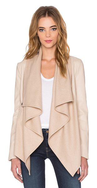 Bardot Waterfall PU Jacket in beige - Self: 55% wool 40% poly 5% viscoseCombo: 100%...