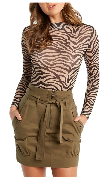 Bardot zebra mesh mock neck top in beige