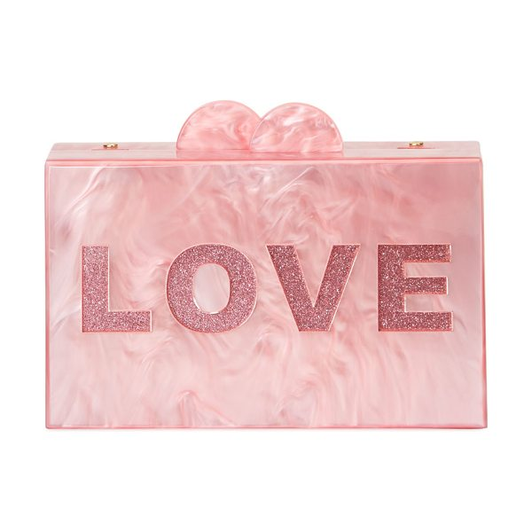 Bari Lynn Girls' Like/Love Glittered Acrylic Box Clutch Bag in pink - EXCLUSIVELY AT NEIMAN MARCUS Bari Lynn box clutch bag in...