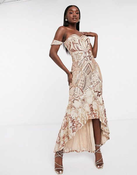 Bariano bardot high low patterned sequin maxi dress in rose gold in gold