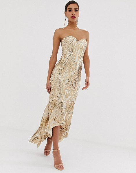 Bariano embellished patterned sequin sweetheart maxi dress dress in gold in gold