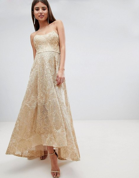 Bariano high low bandeau maxi dress in metallic jacquard-gold in gold
