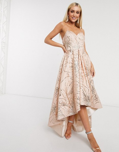 Bariano high low dress in rose gold glitter in gold