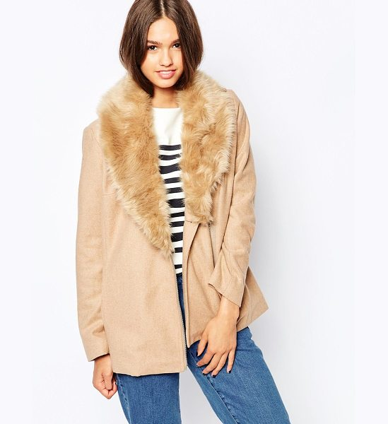 Barney's Originals Coat with deep faux fur collar in camel - Coat by Barney's Originals Wool-mix fabric Detachable,...