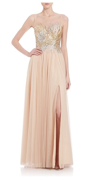Basix Black Label beaded illusion gown in champagne - Beaded illusion bodice tops stunning gown. Bateau...