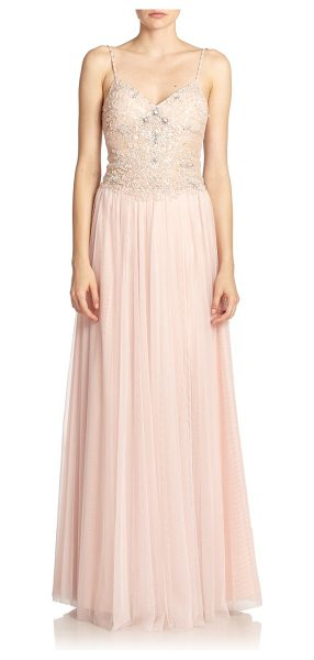 Basix Black Label Beaded lace-top gown in pink - An ethereal design composed of gathered tulle and a...