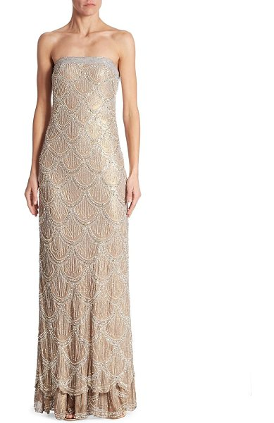 Basix Black Label boustieau beaded silk gown in taupe silver - Striking tiered bodycon silk dress with allover glittery...