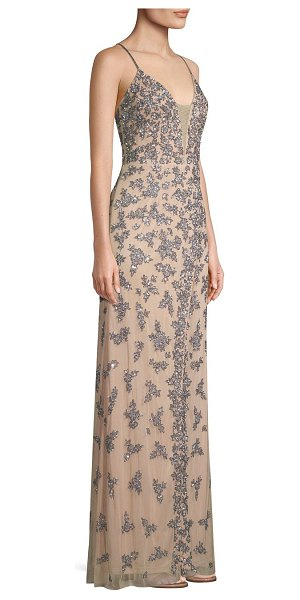 Basix Black Label embellished crossback slip gown in nude silve - Netted slip gown flaunts dramatic jewel-embellished...