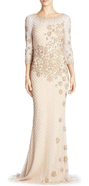Basix Black Label embellished gown in white gold - Eye-catching beads and sequin details adorn this gown....
