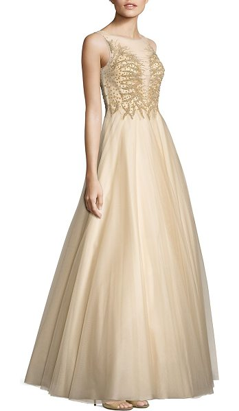 Basix Black Label embellished illusion ball gown in champagne - Embellished bodice tops sweeping ball gown. Illusion...