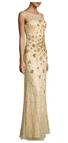Basix Black Label embellished sleeveless mesh gown in champagne - Shimmering embellishments adorn this lovely gown....