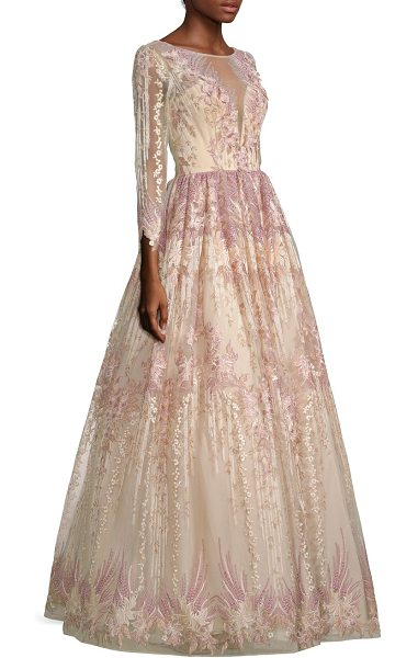 Basix Black Label embroidered ball gown in mauve - A sweeping modern ball gown with delicate floral...