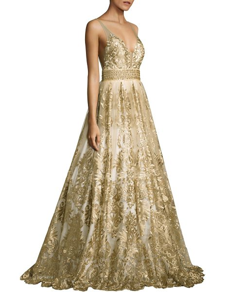Basix Black Label embroidered ball gown in gold - Ball gown with allover embroidered details.V-neck and...