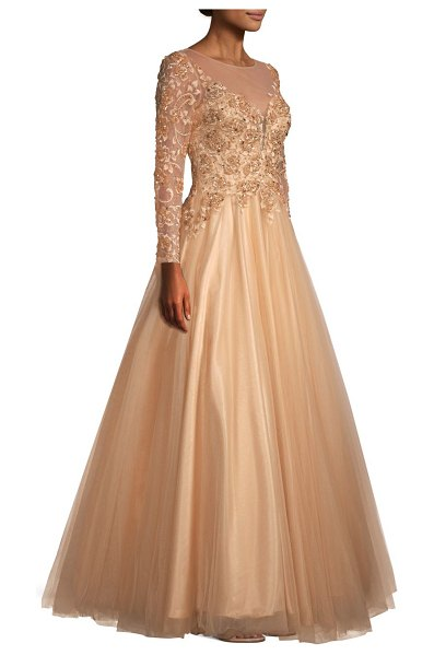 Basix Black Label floral appliqué ball gown in gold