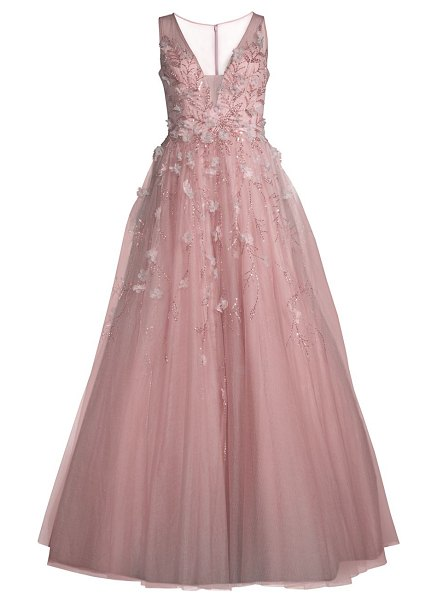 Basix Black Label floral embroidered gown in mauve