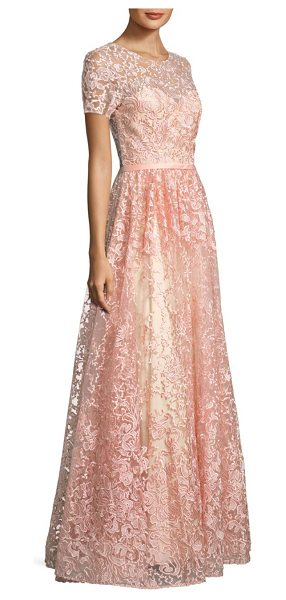 Basix Black Label floral-print gown in soft pink - V-back gown with allover embroidered details. Crewneck....