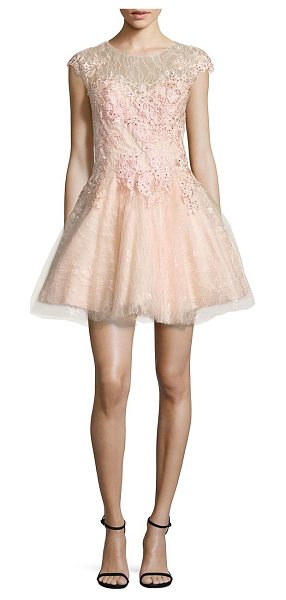 Basix Black Label floral lace fit-&-flare dress in pink - Gorgeous floral appliques adorn this lace dress....