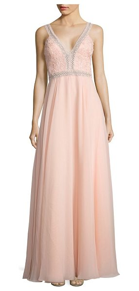Basix Black Label floral laced v-neck gown in pink - Pleasant hued gown with elegant floral lacing. Deep...