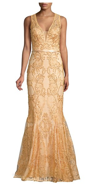 Basix Black Label godet embellished lace mermaid gown in champagne
