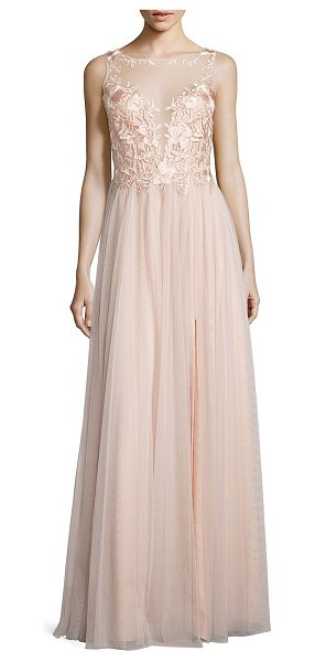 Basix Black Label illusion lace gown in pink - Regal lace and sheer panels update this pleated gown....