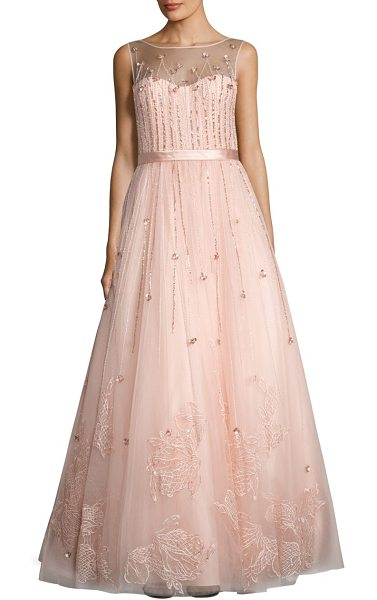 Basix Black Label illusion neck sequined gown in pink - Sequined gown accentuated with embroidered skirt....