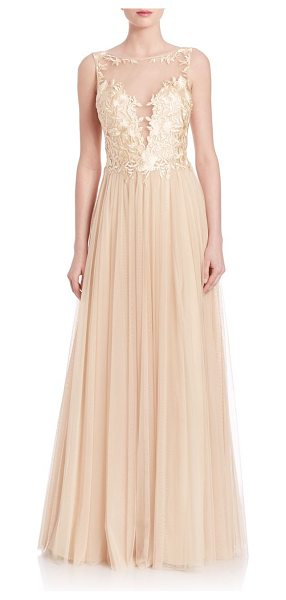 Basix Black Label illusion tulle gown in champagne - Ethereal gown with delicate floral embellishments....