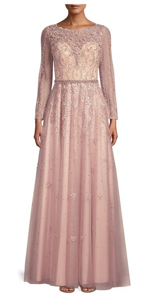 Basix Black Label long-sleeve beaded lace gown in mauve