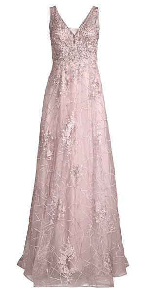 Basix Black Label sheer lace embroidered tulle gown in mauve