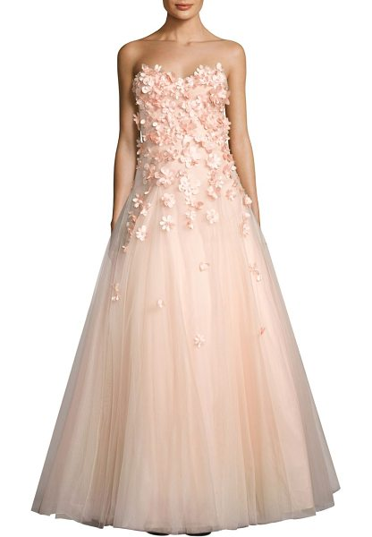 Basix Black Label strapless floral gown in pink - Tulle gown highlighted with alluring floral appliques....