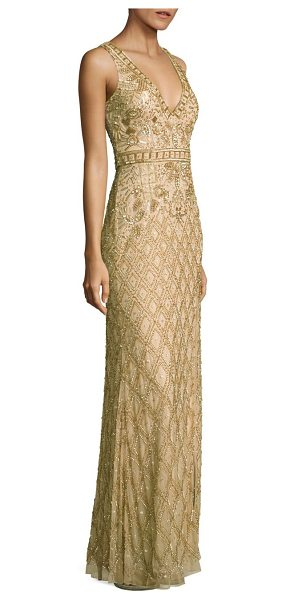 Basix Black Label embellished sleeveless gown in gold