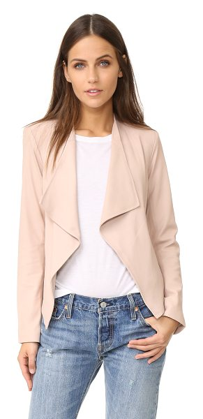 BB Dakota siena soft leather jacket in parchment - Draped lapels frame the open placket on this shrunken BB...