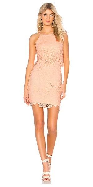 BB Dakota Bryn Dress in coral - 100% poly. Hand wash cold. Fully lined. Embroidered lace...
