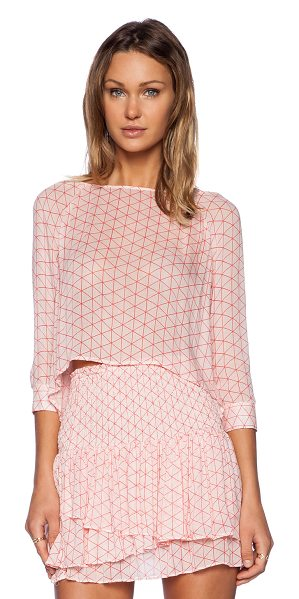 BB Dakota Imara top in pink - Poly blend. Button cuffed sleeves. Semi sheer fabric....