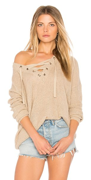 BB Dakota Jack by BB Dakota Willard Sweater in beige - 100% acrylic. Hand wash cold. Knit fabric. Lace-up...