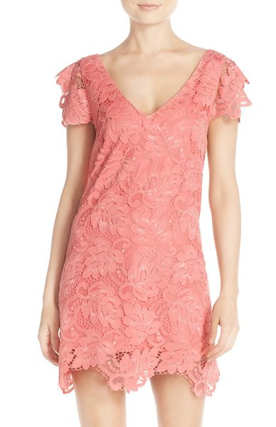 BB Dakota 'jacqueline' lace shift dress in coral