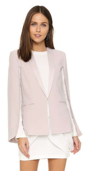 BB Dakota Janae crepe cape in parchment - Satin lapels accentuate the refined look of this BB...