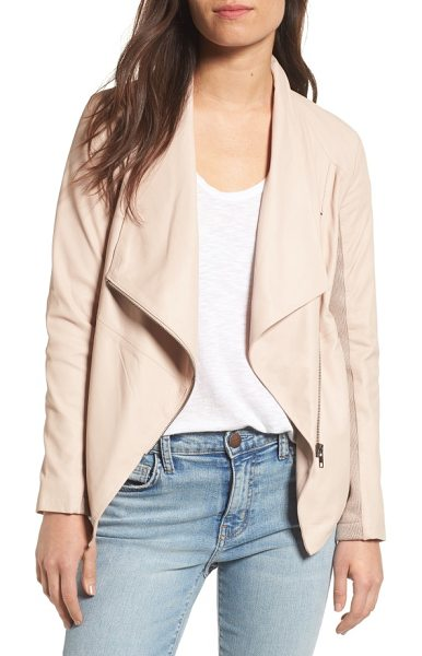 BB Dakota 'kenrick' drape neck leather jacket in parchment - An asymmetrical zip and angled front hem distinguish a...