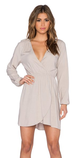 BB Dakota Leni dress in beige - Poly blend. Hand wash cold. Unlined. Wrap front with...