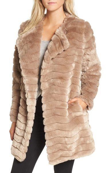 BB Dakota mccoy faux fur coat in camel - Channel-stitched for interesting texture and made from...